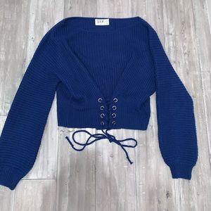 Blue tie sweater